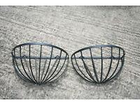 Two Large Black Metal Wall Half Baskets