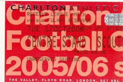 Ticket - Charlton Athletic Reserves v Fulham Reserves 17.10.05