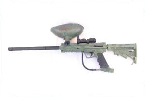 Custom BT-4 COMBAT PAINTBALL MARKER - W/ Hopper and 16in Barrel