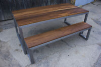 Chunky-U Dining Table and Bench - Walnut or Oak, Locally made!