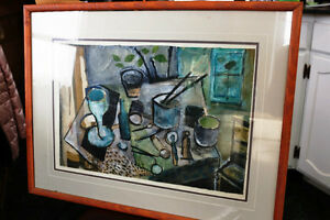 ORIGINAL ART SKY GLABUSH COLLAGE FRAMED 29 X 23 INCHES