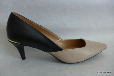 New CALVIN KLEIN Beige/Black pointed toe kitten heel Pump shoes Size 8.5