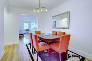 Cherry wood dining room table and chairs