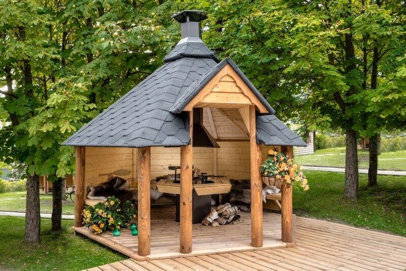 Grillkota Pavillon Grillhütte Kota Grillhaus Holz offen Neu!