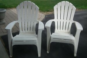 2 Ivory coloured Adarondack Chairs New