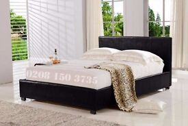 【BRAND NEW】PU LEATHER LOW FRAME LEATHER BED WITH MEMORY RANGE MATTRESS (SAME / NEXT DAY DELIVERY)