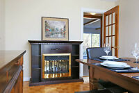 Electric fireplace with shelving