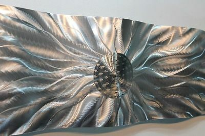 Metal Abstract Modern Silver Wall Art Sculpture Static Wave  By Jon Allen