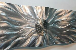 Metal-Abstract-Modern-Silver-Wall-Art-Sculpture-Static-Wave-By-Jon-Allen