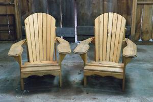 Two Muskoka Adirondack wood wooden chairs