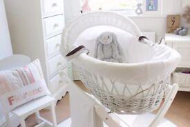 Izziwotnot Moses basket and basket stand like new.