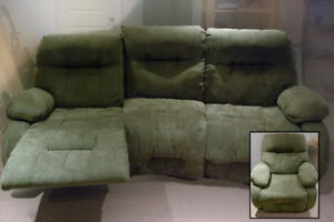 green microfibre 3 seater sofa with reclining ends