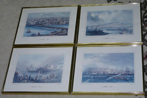 Four Matching Framed Prints of Old Canadian Cities - New Price