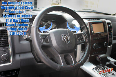 For 2013-2017 Dodge Ram 1500 2500 3500 -Leather Wrap Steering Wheel Cover, Black