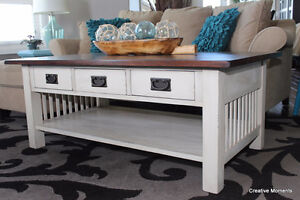 Gorgeous refinished wood mission style coffee table