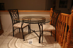 complete set glass dinner table with 4 chairs