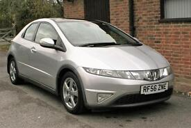 2007 HONDA CIVIC 1.8 ES V-TEC IN SILVER. PANORAMIC GLASS ROOF SERVICE HISTORY