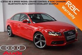 2010 Audi A4 2.0TDI 143BHP SE-B/TOOTH-CRUISE-6 DISC CHANGER-FINANCE AVAILABLE-