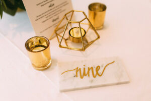 Wedding Table Numbers - Wedding Decor (Marble Tile)