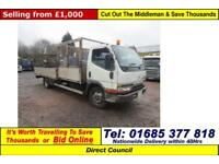 1998 - S - MITSUBISHI CANTER 4X2 7.5TON c/w CAGED TIPPING BODY & FLATBED BODY
