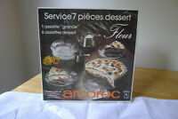 New Arcoroc 7 Piece Cake set Made in France