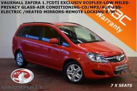2013 Vauxhall/Opel Zafira 1.7CDTi 16v ecoFLEX (110ps) Exclusiv-LOW MILES F/S/H-