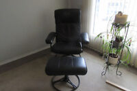 Upholstered Swivel Recliner and Ottoman