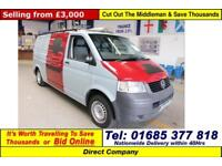 2008 - 08 - VOLKSWAGEN TRANSPORTER T30 1.9TDI 84PS LWB VAN (GUIDE PRICE)