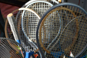 Tennis and Badminton Rackets and net