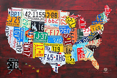 License Plate Map Of The United States Collections Poster Print  36X24