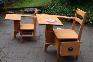 2 Vintage Solid Maple Children's Desks
