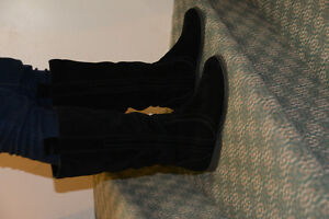 Black Suede Flat Boots