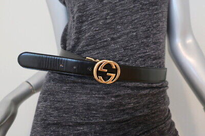 Gucci GG Interlocking Buckle Reversible Belt Black/Brown Leather Size 75 US 30