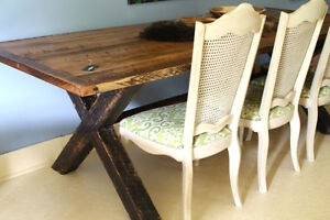 RUSTIC HARVEST TABLE, TRESTLE TABLE, SOLID WOOD, HANDCRAFTED