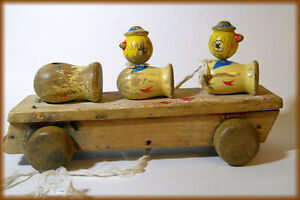 Vintage Wooden Pull type Toy - Ducks