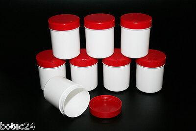 100 Stück Salbendosen Salbenkruke Cremedosen 50 g hohe Form -  weiß / rot