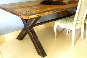 PRIMITIVE, RUSTIC HARVEST TRESTLE TABLE, SOLID WOOD