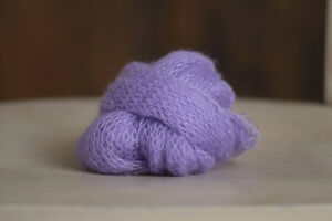 Newborn Photography Prop Destash Hand Knit Mohair Wrap Purple