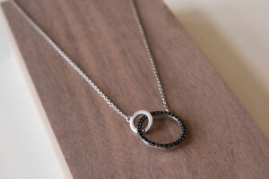 Silver and crystal interlocking circles necklace