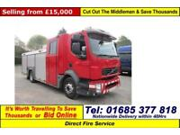2008 - 58 - VOLVO FL 240 4X2 16TON 6SEAT CREW FIRE TENDER (GUIDE PRICE)