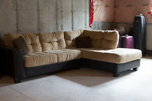 Beige sectional couch