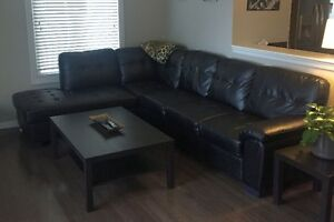 Tobi Bonded Leather Right-Facing Sectional - Black