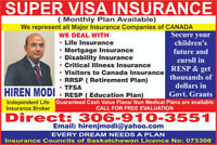 Super Visa Insurance and Visitors Visa Insurance 306-910-3551