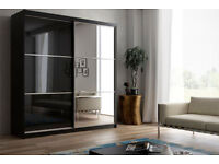 ULTRA HIGH GLOSS 2 DOOR SLIDING WARDROBE IN BLACK WITH MIRROR, SHELVS TWO HANGING RAILS