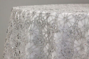Wedding Sparkly Silver table Cloth Overlay- Round