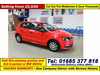 2014 - 64 - VOLKSWAGEN POLO BLUEMOTION 1.0 PETROL 5 DOOR HATCHBACK (GUIDE PRICE)