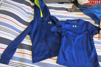 Boys Under Armour zip-up hoodie and dry-fit t-shirt