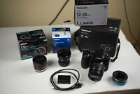 KILLER GH4 Kit complete with lenses, xtra battery, EF adapter