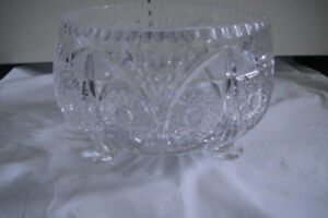 "Bohemian Czech Brilliant Cut  Crystal 7"" Curled Footed Bowl Kusa"