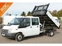 2013 63 FORD TRANSIT 2.2 350 DRW 1D 124 BHP TIPPER DIESEL ALLOY DOUBLE CAB